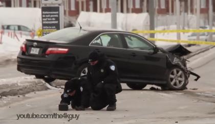 Photo et vidéo: Pascal Marchand -  L'auto banalisée de la Sûreté du Québec qui a embouti  à plus de 120 km/h la voiture dans laquelle se trouvait la petite victime participait à une filature à quatre véhicules.