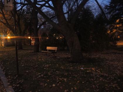 Photo: Dominique Trottier - Dans ce parc, six des onze lampadaires sont éteints le soir. Les cinq autres diffusent une faible lumière tamisée.